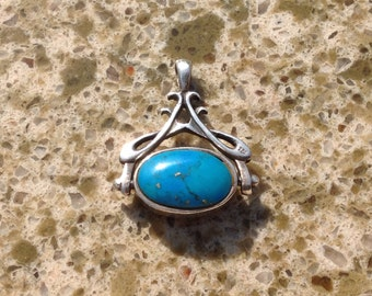 Turquoise and Onyx Sterling Double Sided Pendant