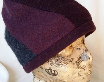 Felted wool hat from gently used 100% wool sweater in a swirl pattern