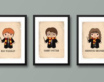 Harry Potter inspired wall art, kids wall art, Harry Potter, Hogwarts, Harry Potter print, Harry Potter art, Hermione Granger, Ron Weasely