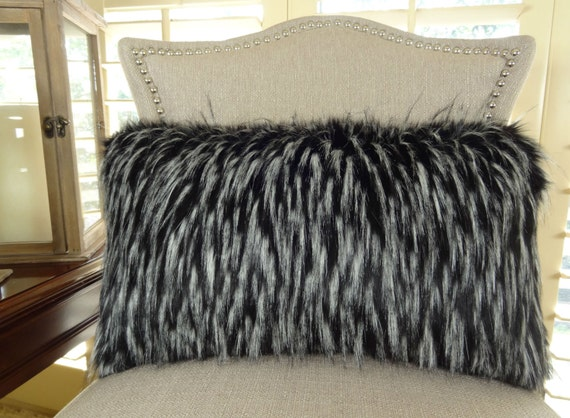 Black White Fur Throw Pillow Wolf Faux Fur by PillowsAndAccents