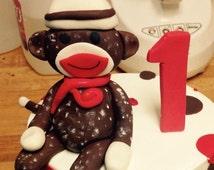 how to make fondant sock monkey cake topper
