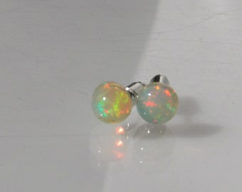 White Opal Gemstone Post Earrings with Sterling Silver 6mm