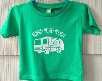 Reduce Reuse Recycle Garbage Truck Tshirt in Kelly Green