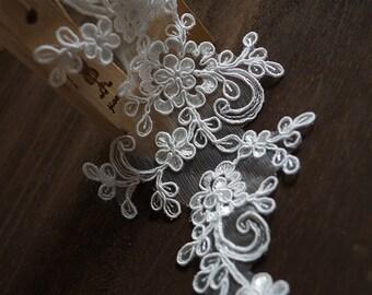 ivory bridal lace applique, bridal applique, ivory lace headpiece, bridal headpiece