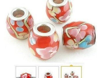 Red Floral Ceramic Hair Beads x 3 beads
