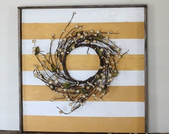 Yellow and White Striped Distressed Wood Sign, Floral Accent, Greenery, Home Decor, Spring Sign with Frame