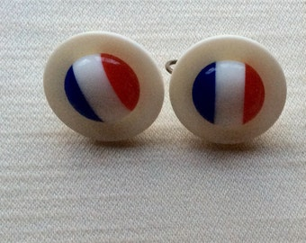 Red, White and Blue Plastic Clip on Earrings