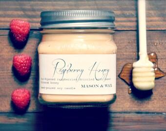Raspberry Honey Mason Jar Soy Candle