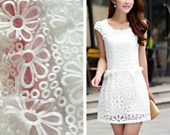 White Flora Organza Lace Fabric for Skirt,Organza Clothing Fabric,Elegant Flora Organdy Fabric.Bridal Lace,Flora Lace,Wide 50'' Sold By Yard