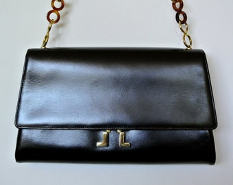 Authentic Vintage Lanvin Shoulder Bag - Lanvin Evening Leather Handbag - Made in France - Tortoise Lucite & Brass Chain