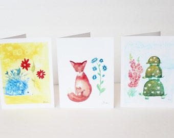 Woodland Note Cards Set, Fox Note Cards, Hedgehog Note Cards, Turtle Note Cards, Watercolor Note Cards, Blank Note Cards, 4.25x5.5, 6 Cards