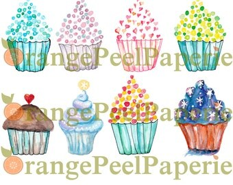 Watercolor Cupcake Clipart Pack