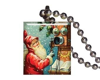 Vintage Christmas Santa Claus Lost - Reclaimed Scrabble Tile Pendant Necklace