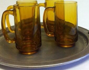 Vintage Amber Glass Beer Mugs / Root Beer Float Mugs / Set Of 4 Glass Mugs / Beer Glasses / Bar Glasses