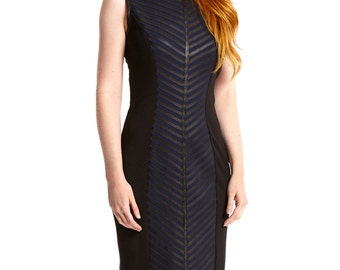 Leather Dress Black navy Sheath Dress