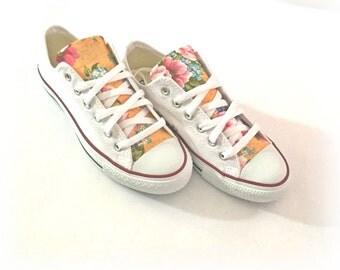 Floral Converse Shoes, Floral Canvas Shoes, Women's Floral Converse