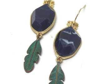 Faceted Blue Stone with Green Feather Dangle Earrings
