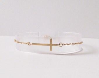 sideways cross bracelet side horizontal cross thin gold bracelet