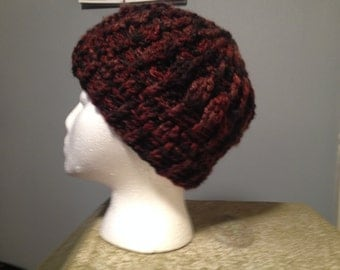 Red-Brown Multicolor Textured Beanie with Ribbing
