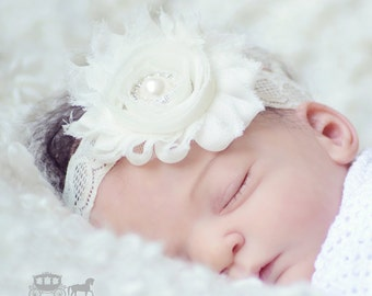 Ivory Newborn Baby Headband - Christening Headband - Girls Headband - Newborn Headband - Infant Headband - Newborn Photo Prop - Baptism