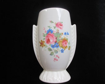 Vintage Pottery Floral Flower Hand Painted or Decaled Art Deco Style Vase