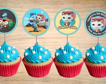 Sheriff Callie Cupcake Toppers - Sheriff Callie Birthday Party Tags - Sheriff Callie Circle Favor Tags 2""