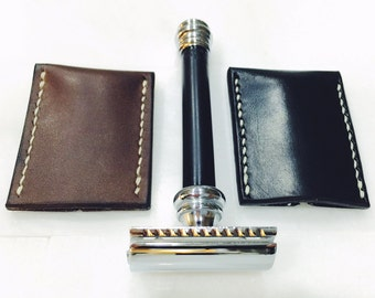 Handmade Safety Razor Cover / Sheath - Wet Shaving, Dark Brown Oiled Leather
