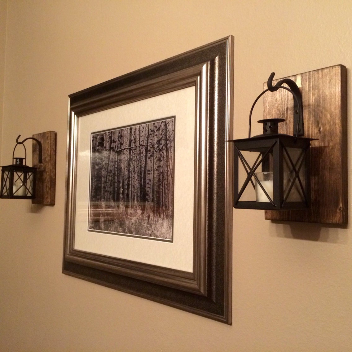 Bathroom Wall Decor Etsy : Lantern set wall decorrustic bathroom decor housewarming
