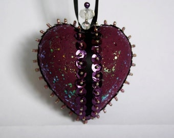 CLOSING DOWN SALE  Sequinned and Beaded Heart Christmas Holiday Ornament In Purple and Black.