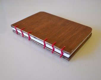 Wooden notebook RECYCLED WOOD coptic bound journal, sketchbook A6 more colours
