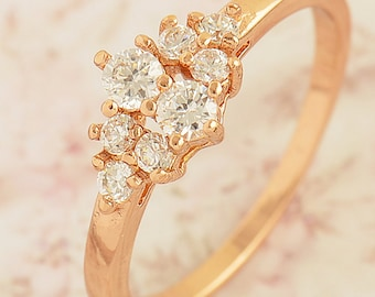 9K Rose Gold Filled Cubic Zirconia Ring, size: 7