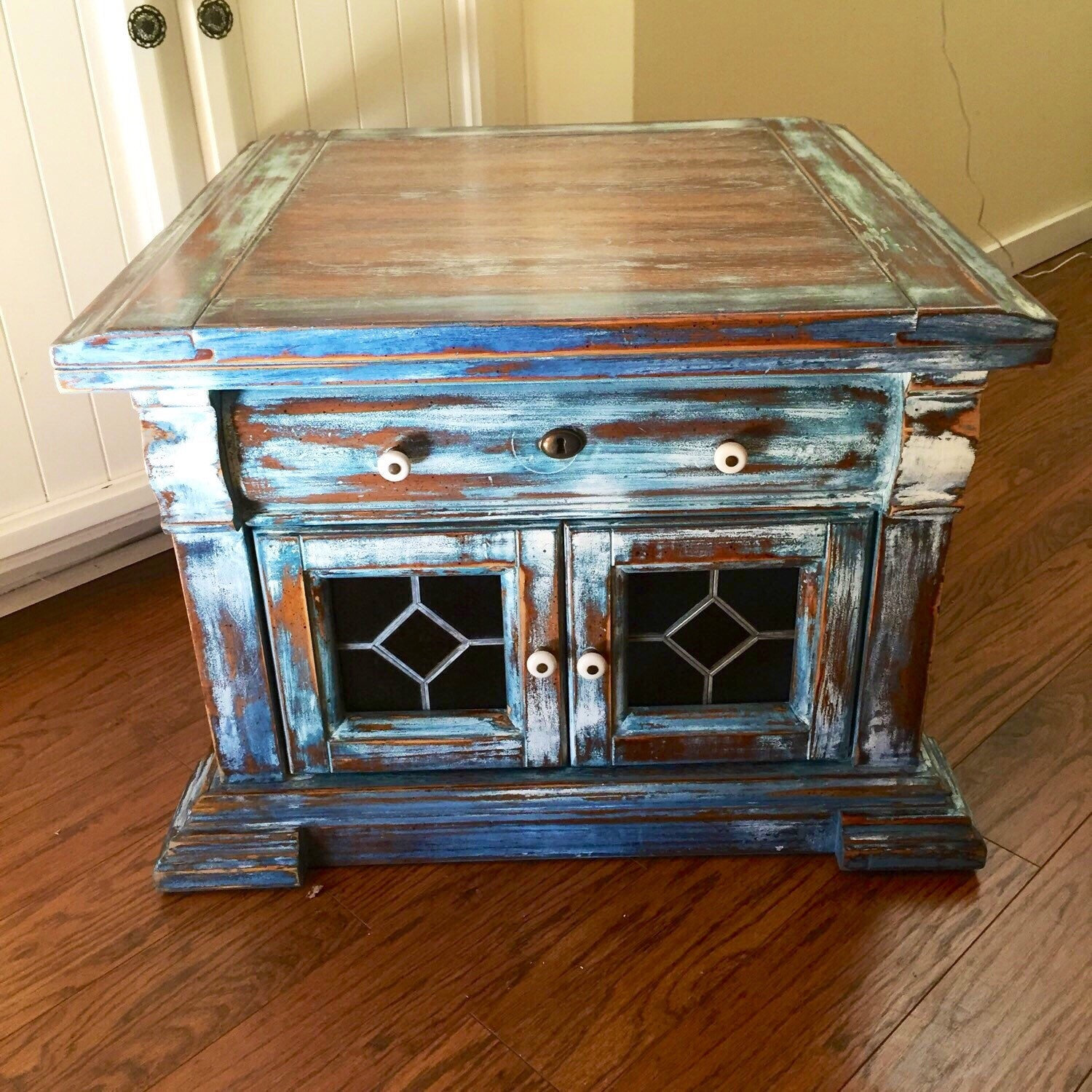 French Country Distressed Coffee Table: SOLD Stained Glass Coffee Table Vintage French Country