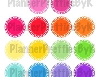 Round Scallop stickers   Set of 28