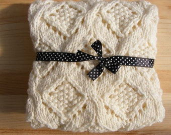 Knitted Baby Blanket, Hand Knit Blanket, Natural Blanket Baby Wool & Bamboo,  Christening Blanket