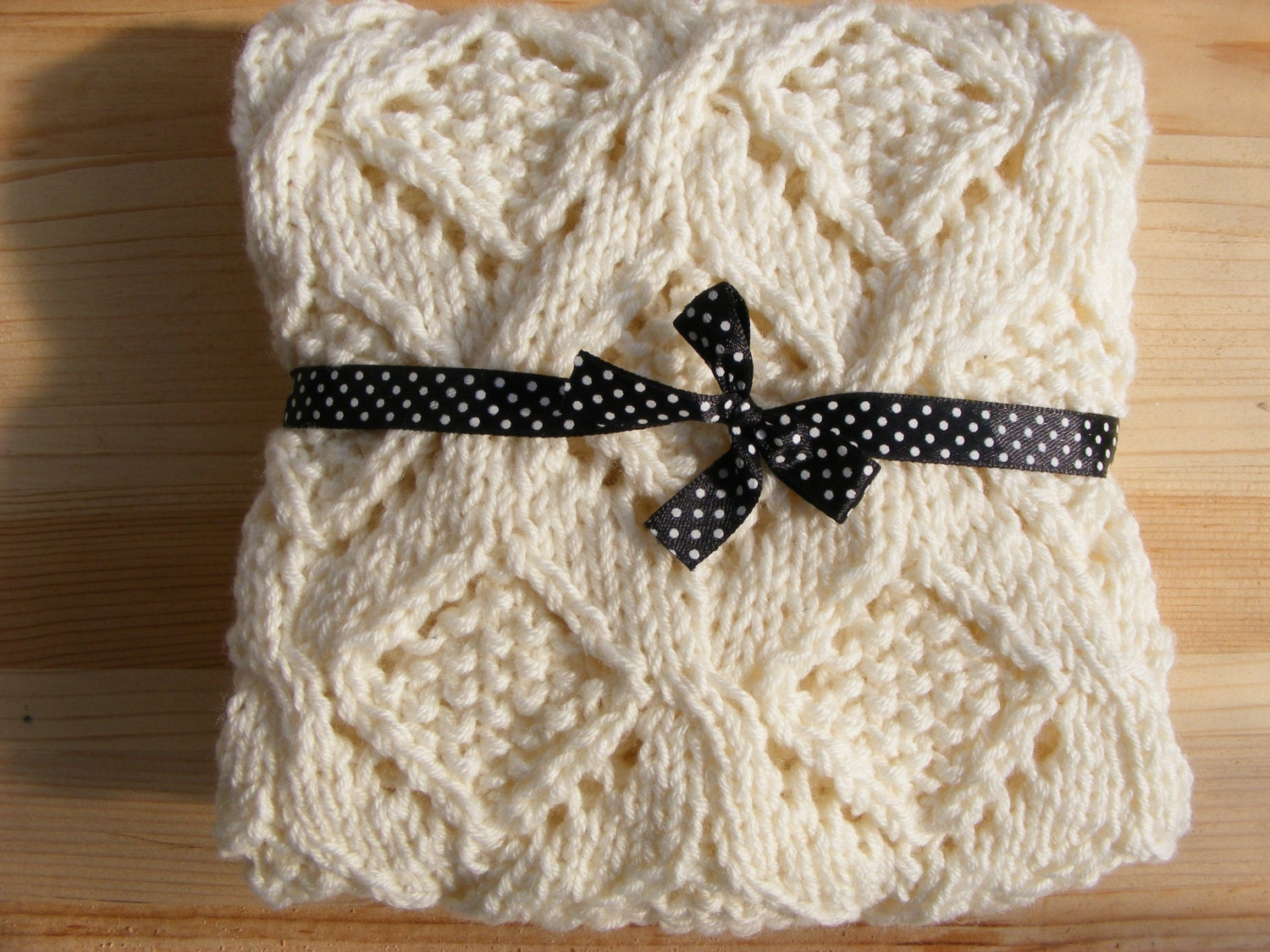 Hand Knitting Blankets : Knitted baby blanket hand knit natural by letricott