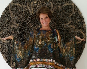 Exotic Lace and Knit  Rectangular Poncho