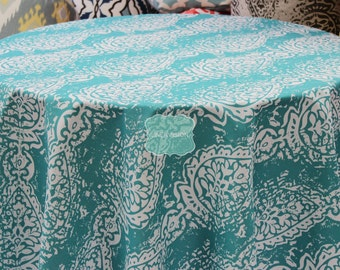 Tablecloth - Premier Prints Cotton - MANCHESTER - Outdoor Ocean Turquoise - Choose Your Size - Table Linen Wedding Home Decor Dining Kitchen