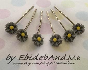 Cute flower bobby pins - set of 6 in grey daisies - cute bobby pins, bridesmaid, flower girl, wedding, wedding hairpin, wedding bobbypin