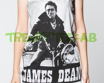 James Dean Shirt Biker Movie Tank Top White Women Singlet Sleeveless T-Shirt Unisex Size S , M , L