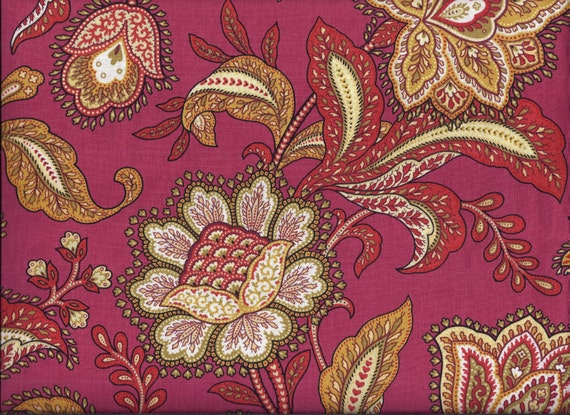 Red Floral Paisley Curtain Valance by CurtainsbyCindy on Etsy