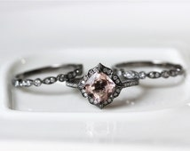 Three Ring Set! 1.5ct Fancy Pink Morganite Ring 14K Black Gold Pave Diamonds Wedding Ring /Engagement Ring/ Anniversary Ring/Milgrain Band