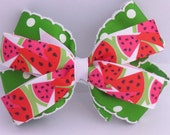 Spring & Summer handmade hair bow, watermelon hair clip, hair accessories, grosgrain handmade hair bow, hair bow, girls hair bows, hair clip