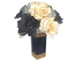 Black and Gold Floral Arrangement, Gold and black Centerpiece, Gold Home Decor, Black Faux Floral arrangement, Paper Flower decorations