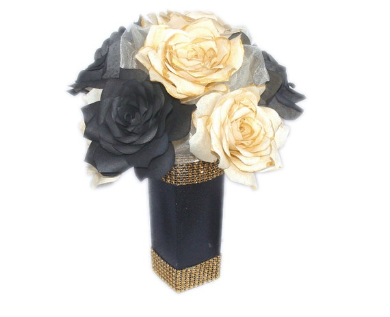 Items similar to black and gold floral arrangement