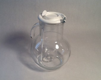 Italian Glass Pitcher  Iced-T Clear W/Lid and Stirer, Wedding Pitcher 1970's