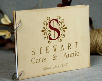 Personalized Wedding-Anniversary-Bridal Shower-Birthday-Retirement Guest Book, Gift for Couple, Family Monogram Memory Book, Rustic Theme