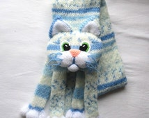Popular items for knit cat scarf on Etsy