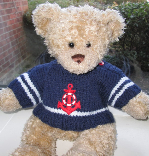 Knitting Pattern For Teddy Bear Clothes : Teddy Bear Clothes Hand Knitted Blue & White Nautical Sailor