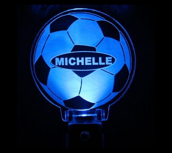 Soccer Ball Night Light Personalized By Woodyoumakeit On Etsy