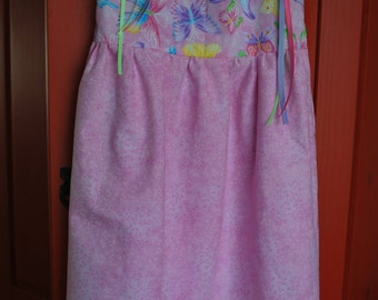 Butterflies on Pink Pillowcase Dress Size 5